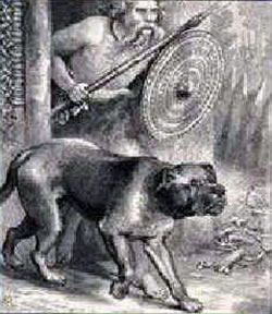 "Wood block print of the Celts in Gaul with ""barbarian"" Mastiff War Dog. (approx. 86 B.C.)"